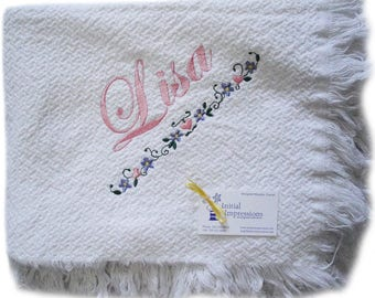 White Cotton Throw Blanket - Embroidered with the Heart Bar Embroidery Design as Shown and Personalized