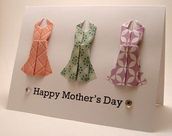 CLEARANCE Origami Dress Mother's Day Card (pink teal purple)