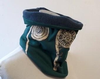 Fiddlehead screenprinted neckwarmer fleece cowl forest green and navy
