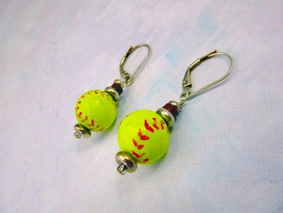 softball earrings - softball jewelry - I can pitch you a no foul - novelty for sports fan - sport ball stocking stuffer gwynstone handmade