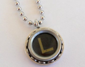 SALE Typewriter Key Necklace, Letter L, Vintage, Initial Jewelry,  All Letters Available, Typography Jewelry