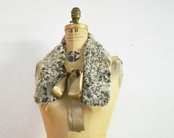 SALE- Grey Persian lamb fur scarf with satin ribbons