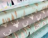 Hello Bear fabric bundle, Woodland Blanket fabric, Woodland Nursery fabric, Rustic Home Decor, Deer fabric, Bundle of 6- You Choose the Cut