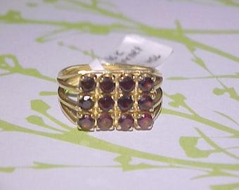 Large 10k Gold Garnet Ring
