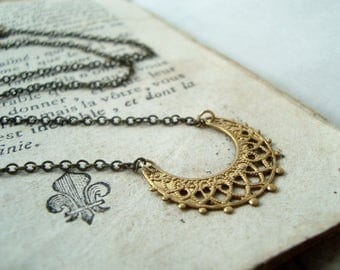 Brass Filigree Crescent Necklace Brass Jewelry Golden Simple Vintage Style Mothers Day Gifts Under 30 Art Nouveau Chain Necklace