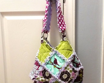 Handbag, Rag Quilted, Purse,  Bird, Purple, Sage, Lavender, Teal, Aqua, Aviary II, Joel Dewberry, Ready to Ship