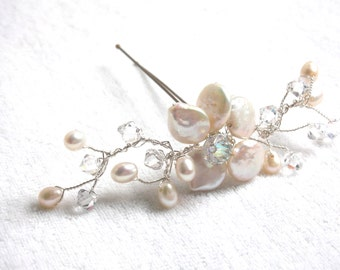 Handmade pearl and crystal hairpin