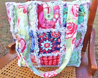 Rag Quilt Tote - Floral - Polka Dots - Amy Butler Love Collection fabrics - Quilted Purse - Rag Quilt Handbag - Handmade Tote - Mother's Day