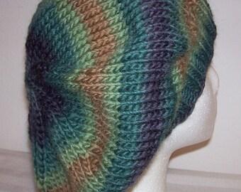 Wool Tam - Slouchy Knit Beret - Knitted Dreadlock Tam - Rasta Tam - Forest