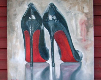 "Original Oil painting on fine jute ""NAILS"" 30"" by 32"" luscious High Heels part of the SHOE Series! FREE shipping!"