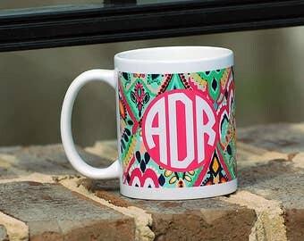 Lilly Inspired Monogrammed  Mug