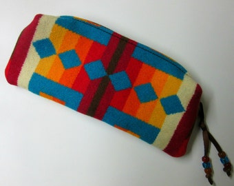 Wool Zippered Pouch Pencil Case Accessory Organizer Cosmetic Bag Clutch Native American Print