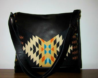Wool Shoulder Bag Purse Cross Body Bag Soft Black Leather Adjustable Strap Blanket Wool from Pendleton Oregon