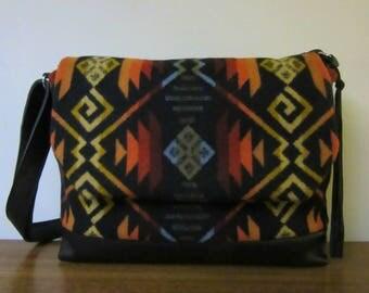 Custom order for Maud Shoulder Cross Body Bag Messenger Purse Black Leather Adjustable Strap Blanket Wool