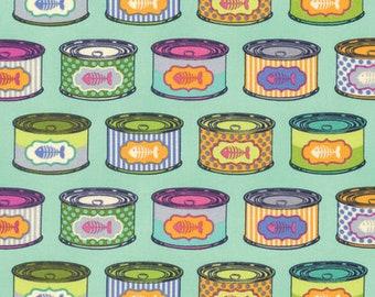 Tula Pink Tabby Road CAT SNACKS Blue Bird PWTP094 Fabric - Cuts by HALF Yard Increments