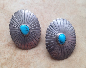 Vintage Sterling Silver Turquoise Post Earrings Native American