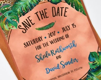 Watercolour Tropical Palm Leaves with Rose Foil Beach Destination Wedding Save the Date