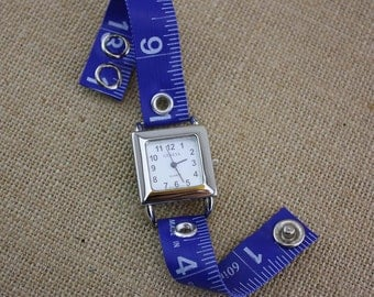 LIMITED TIME ONLY! Tape Measure Watch in Royal Blue - Square Face - Statement Jewelry created with Upcycled Measuring Tape