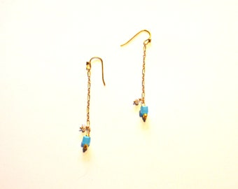 Long Gold Blue Chain Earrings / Long 14k Gold Filled Chain Earrings with Turquoise Cube Crystals / Geometric Gold Blue long Chain Earrings
