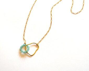 Gold Aqua Green Necklace / Gold Geometric Necklace / Gold Blue Green Necklace / Green Modern Statement Necklace / Gold Modern Hoop Necklace
