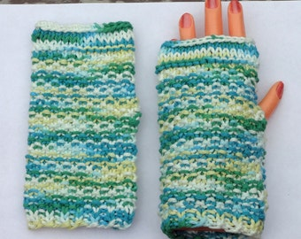 Hand Warmers - Fingerless Gloves - Green Striped Hobo Gloves - 100% Cotton (Free Shipping)