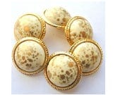 6 Vintage buttons white plastic with gold free shape gold color trim, retro 21mm