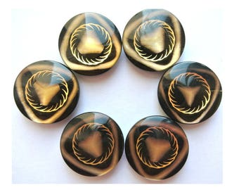 Vintage buttons, 6 pcs, black with inner design in gold color