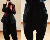 Black SUPER Baggy LINEN PANTS Trousers Plus Size 16 18 20 22 Harem Lagenlook 2 Pockets
