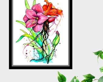 Amaryllis Flowers Original Watercolor 8 X 10