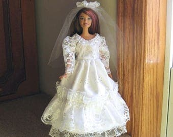 ON SALE Barbie Wedding Dress White Eyelet and Lace with Heart Beads