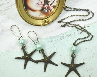 SEA STAR - Couture Nautical Bronze Starfish and Blue Pearl Necklace and Earrings set