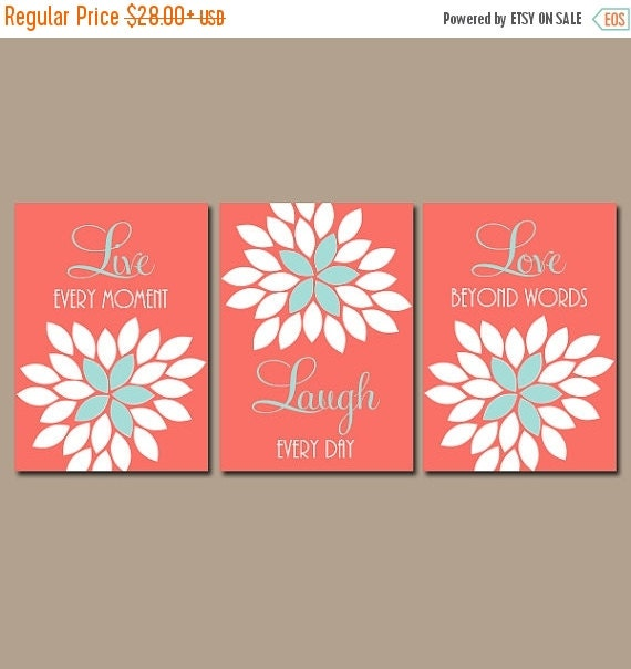 Coral Nursery Wall Decor : Live laugh love coral wall art nursery decor by