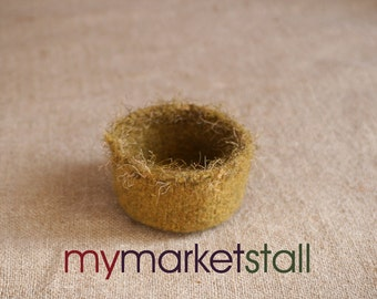 "Felted ""Bird Nest"" Bowl in Dijon Mustard w/Trim/Bowl/Home Decor/Decorative/Storage Container/  - Ready-to-Ship"