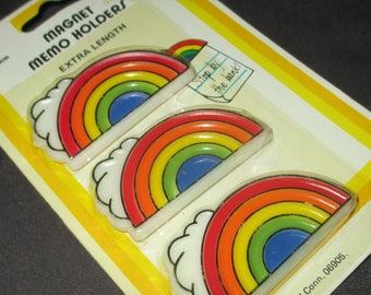 Vintage FAB 80s Rainbows with Clouds Magnets Magnets