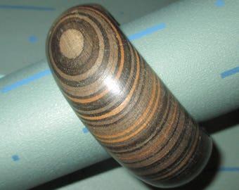 Vintage MOD Striped Wood Chunky Bangle Bracelet