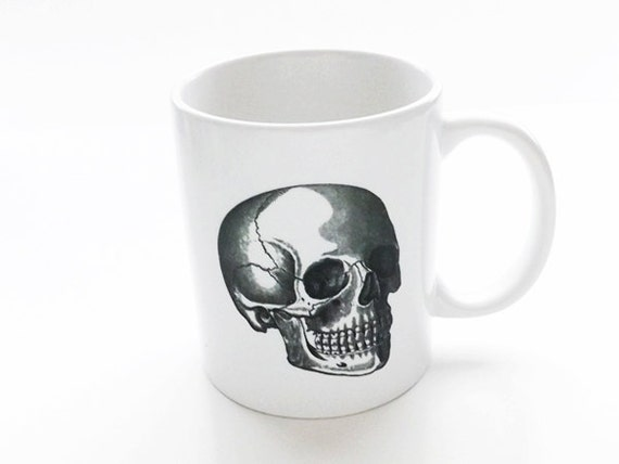 Unique Skull coffee MUG cup gifts for hostess housewarming doctor office male nurse him her goth home decor kitchen neurology gothic science