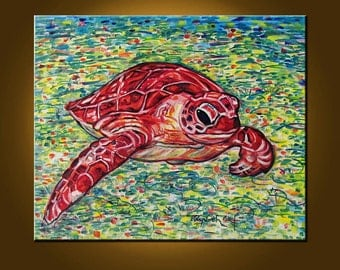 Red Turtle -- 20 x 24 inch Original Oil Painting -- Art Painting, Art & Collectibles, READY to HANG