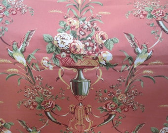 Jaima Brown Empire Rose Fabric Upholstery Drapery Decorator Birds Coral Background 2 3/4 Yards