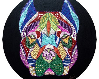 "Pit bully Dog  Acrylic black 12"" round canvas board. Orange black brown white tan purple green red blue pink"