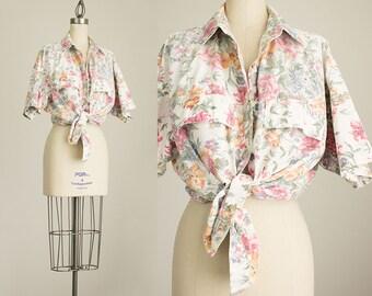 90s Vintage Pastel Floral Print Cotton Oxford Shirt / Size Medium