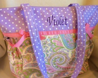 pink paisley Lavender polka dots duffle diaper bag Large to Weekender size personalized custom great baby shower gift customize it