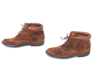 size 8 PLATFORM brown leather 80s 90s GRUNGE chukka lace up ankle boots
