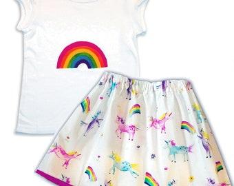 Girls Unicorn and Rainbow Skirt and Tee Shirt / T-Shirt / Baby Clothing / Children's Clothes