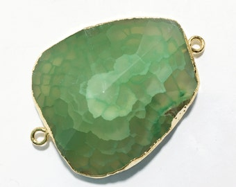 Last One Natural light green agate Oval connector with brass, cracked agate connector