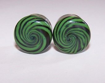 1/2 inch green and black swirl design glass plugs double flared pair