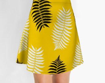 Flare Skirt, Yellow Skirt, Printed Skirt, Girls Skirts,  Modern Skirt, Womens Skirts, Printed skirt, Designer clothing label
