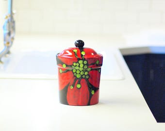 """Coffee Canister Ceramic Canister Jar with Lid Kitchen Storage Red Poppy Canister Medium 8"""" Height Kitchen Storage Pottery Coffee Lover Gift"""