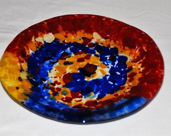 "Primary Swirl Plate in Fused Glass, 10.25"", Handcrafted, Original Design, Clear Glass with Blue, Red, and Yellow Accents; FREE Shipping"