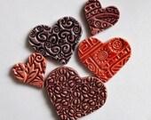 embossed ceramic hearts
