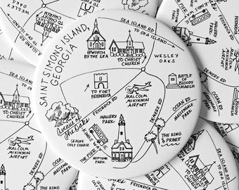 Saint Simons Island, Georgia Map Magnets